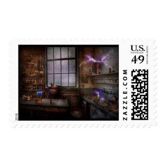 Steampunk - The Mad Scientist Postage Stamp