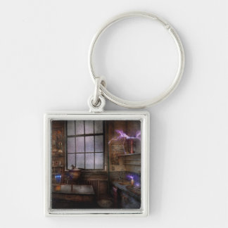 Steampunk - The Mad Scientist Silver-Colored Square Keychain