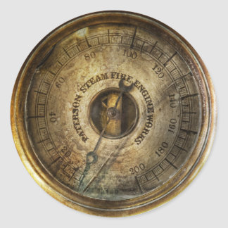 Steampunk - The pressure gauge Classic Round Sticker