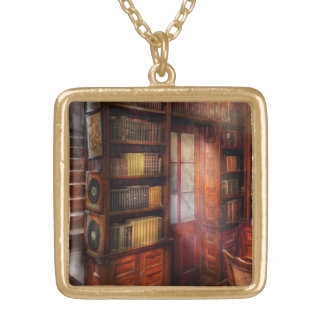 Steampunk - The semi-private study Gold Plated Necklace