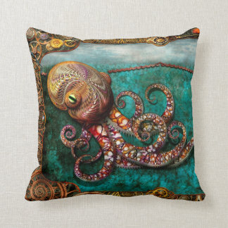 Steampunk - The tale of the Kraken Throw Pillow