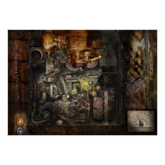 Steampunk - The Turret Computer Poster