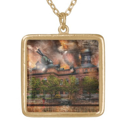 Steampunk - The war has begun Square Pendant Necklace
