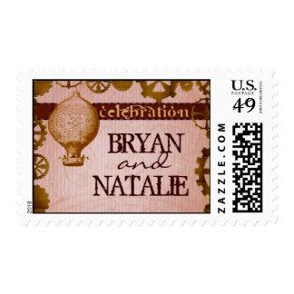 STEAMPUNK theme invitation stamps