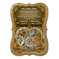 Steampunk theme wedding invitation