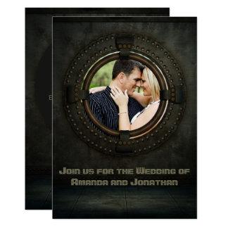 Steampunk themed Wedding add photo Invitation