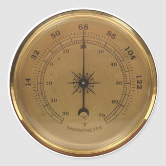 Steampunk Thermometer Classic Round Sticker