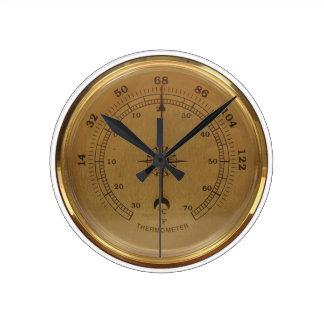 Steampunk Thermometer Round Clock
