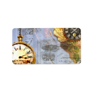 Steampunk Time Labels Tags