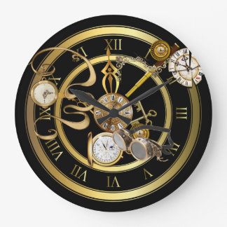 Steampunk Time Large Clock