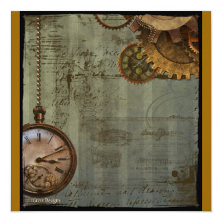 Steampunk Time Machine Card