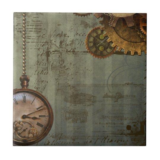 Steampunk Time Machine Ceramic Tile