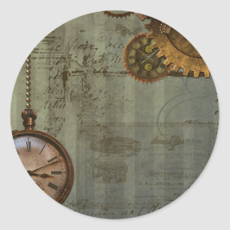 Steampunk Time Machine Classic Round Sticker