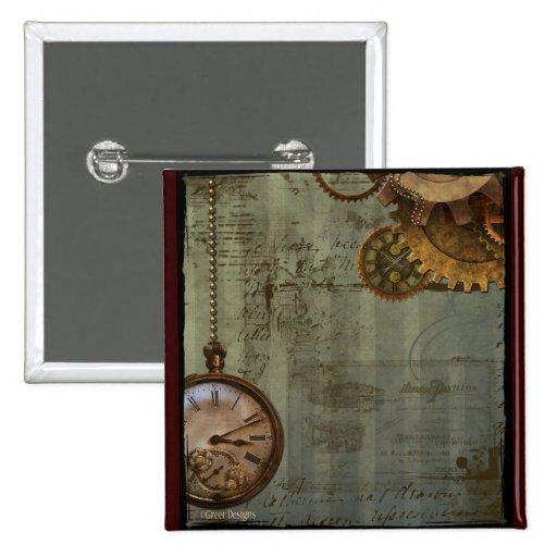 Steampunk Time Machine Pinback Button