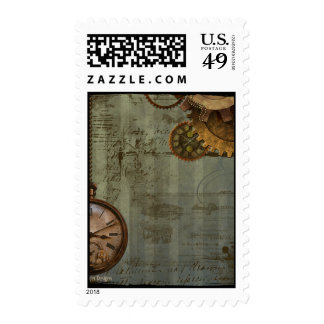 Steampunk Time Machine Postage Stamps