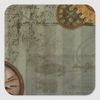 Steampunk Time Machine Square Sticker
