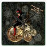 Steampunk time travel, clockwork penny farthing wall clock