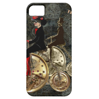 Steampunk time travel, clockwork penny farthing iPhone 5 case