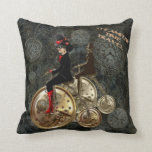 Steampunk time travel, clockwork penny farthing pillows