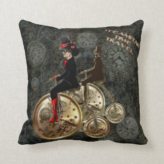 Steampunk time travel, clockwork penny farthing throw pillow