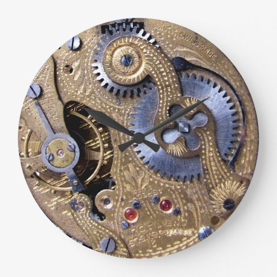 Steampunk Gear Cog Engine Vintage Machine 2 Clock Zazzle Com