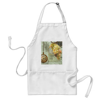 Steampunk Time & Yellow Roses Adult Apron