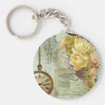 Steampunk Time & Yellow Roses Basic Round Button Keychain
