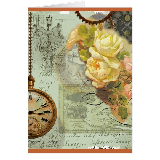 Steampunk Time & Yellow Roses Card