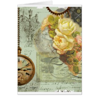 Steampunk Time & Yellow Roses Greeting Card