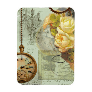 Steampunk Time & Yellow Roses Magnet