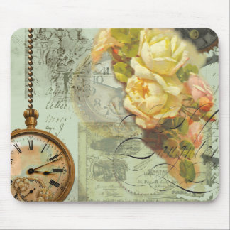 Steampunk Time & Yellow Roses Mouse Pad