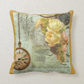 Steampunk Time & Yellow Roses Throw Pillow