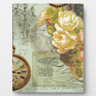 Steampunk Time & Yellow Roses Display Plaque