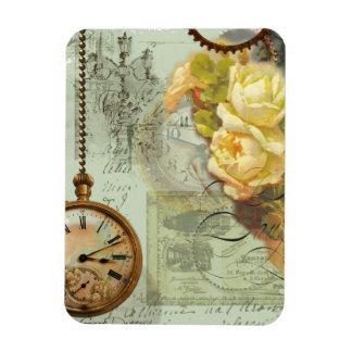 Steampunk Time & Yellow Roses Rectangular Photo Magnet