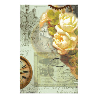 Steampunk Time & Yellow Roses Stationery