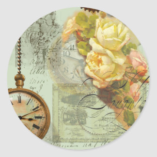 Steampunk Time & Yellow Roses Round Stickers