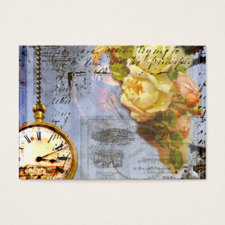 Steampunk Timepiece Yellow Roses Business Cards