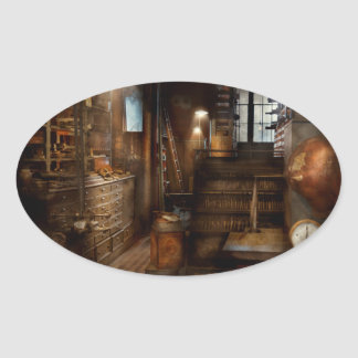 Steampunk - Tool room of a mad man Oval Sticker