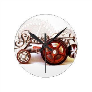 Steampunk Tractor Destiny Gifts Round Clock