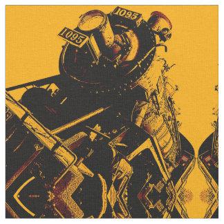 Steampunk train optical illusion fabric