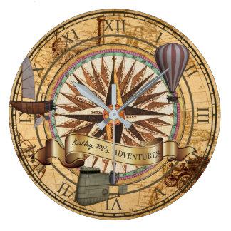 Steampunk Travel Antique Map Compass Adventure Large Clock