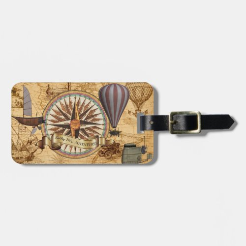 Steampunk Travel Antique Map Compass Adventure Luggage Tag