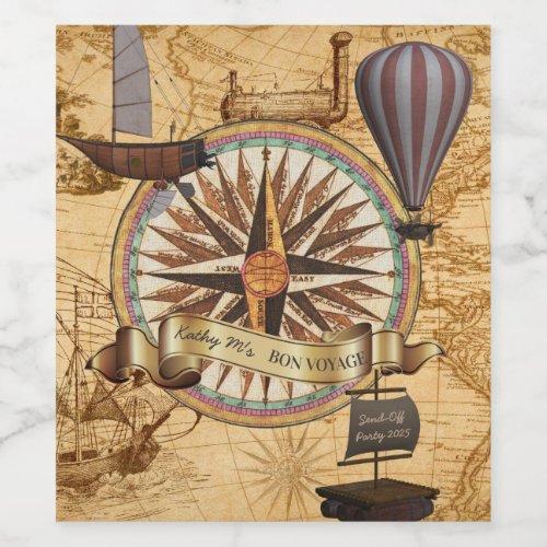 Steampunk Travel Antique Map Compass Adventure Wine Label