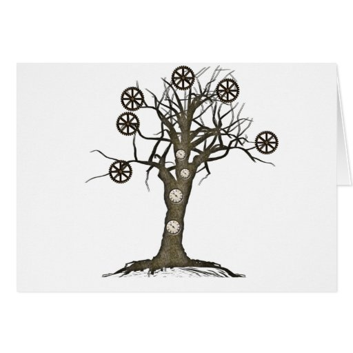 steampunk tree greeting card