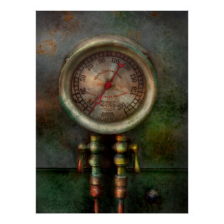 Steampunk - tren - presión del cilindro de freno póster