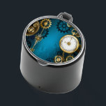 """Steampunk turquoise Background with Gears Bluetooth Speaker<br><div class=""""desc"""">Turquoise,  textured,  steampunk background with brass and gold gears,  a silver key and the clock. Steampunk style.</div>"""