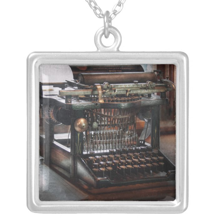 Steampunk - Typewriter - A really old typewriter Silver Plated Necklace