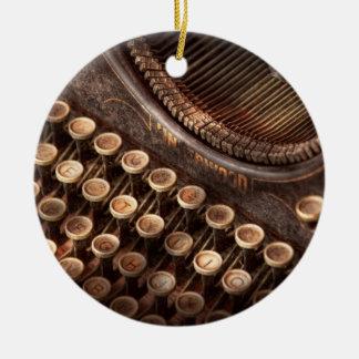 Steampunk - Typewriter - Too tuckered to type Ceramic Ornament