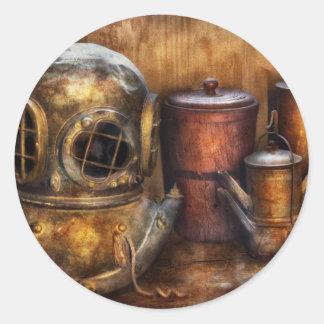 Steampunk - una colección de mis viajes pegatina redonda