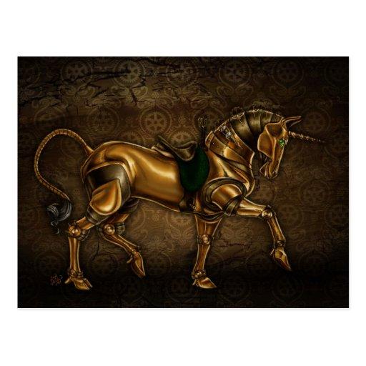 Steampunk Unicorn Post Card